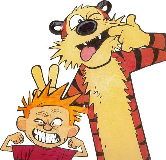 Calvin e Haroldo, por Bill Waterson - Aqui Haroldo, o tigre, nos é apresentado como Calvin o vê.