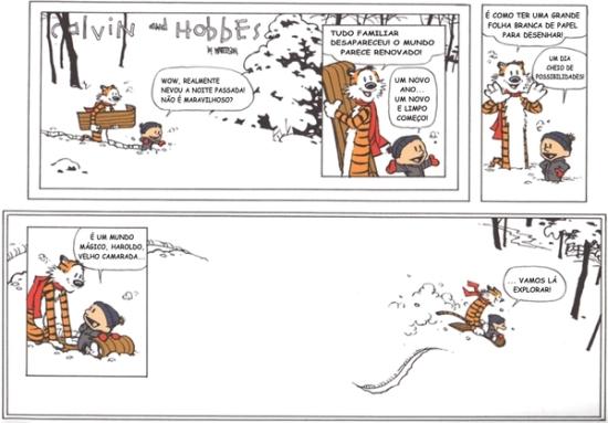 Última tirinha de Calvin e Haroldo, publicada em 31 de Dezembro de 1995. Parece que o fim é, em si, um recomeço.