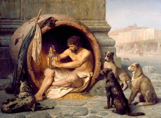 O filósofo grego Diógenes, que levou a vida simples ao extremos de ir morar em um barril. Pintura de Jean-Léon Gérôme